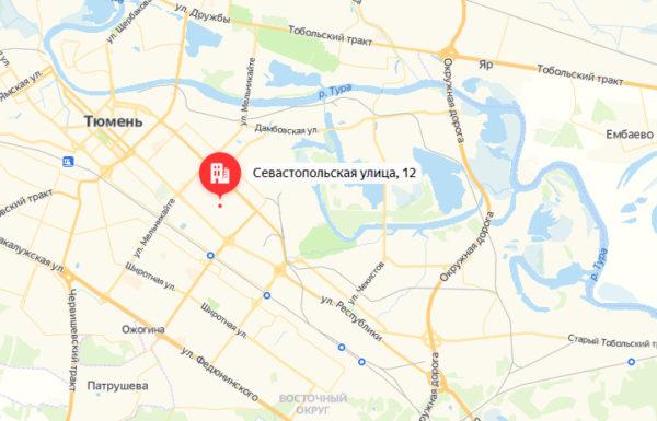 пункт выставка на карте города Тюмени